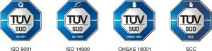 Certifikácia: ISO 9001, ISO 14001, OHSAS 18001, SCC